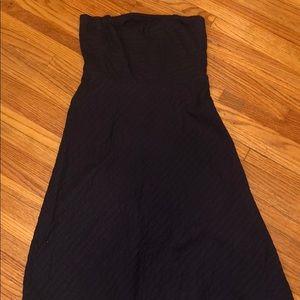 J Crew navy strapless dress.